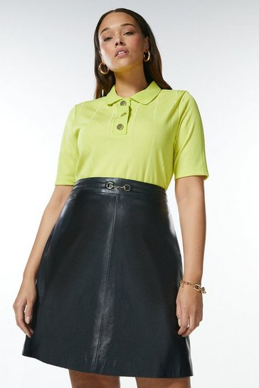 Lime Curve Popper Collar Jersey Rib Top
