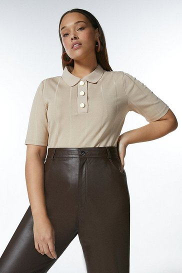 Mink Curve Popper Collar Jersey Rib Top