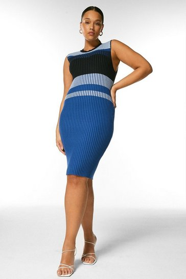 Blue Curve Colourblock Pointelle Knit Dress