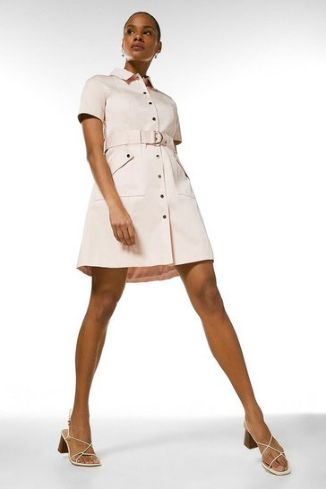 Blush Polished Cotton Sateen Utility Dress