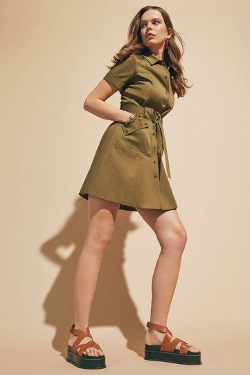 Khaki Polished Cotton Sateen Utility Dress
