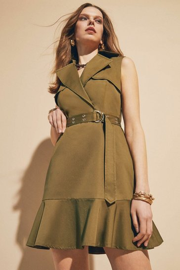 Khaki Polished Cotton Sateen Trench Dress