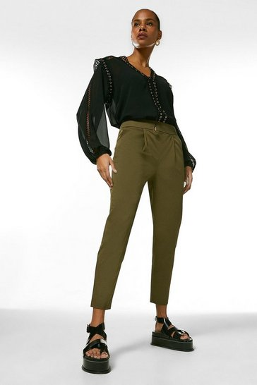 Khaki Polished Cotton Sateen High Waist Trouser