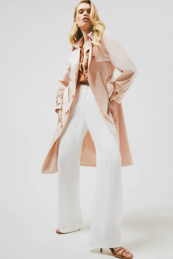 Blush Polished Cotton Sateen Zip Detail Trench Coat