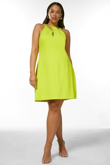 Lime Curve Chain Embellishment Detail Halter Dress