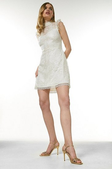 Ivory Chemical Lace Embroidered Short Dress