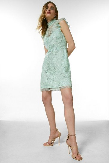 Sage Chemical Lace Embroidered Short Dress