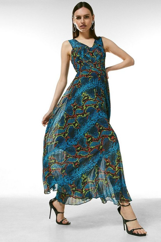Snake Print Bustier Pleated Maxi Dress