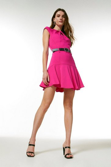 Hot pink  Compact Stretch Viscose Twist Neck Dress