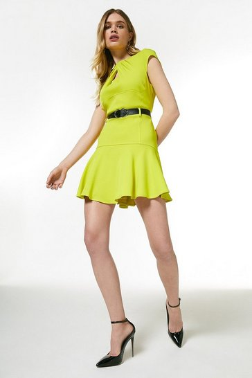 Lime  Compact Stretch Viscose Twist Neck Dress