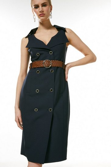 Navy Polished Stretch Wool Blend DB Pencil Dress