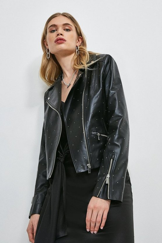 Black Leather Studded Signature Biker Jacket