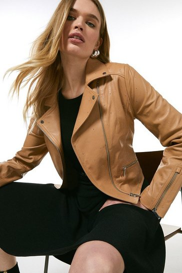 Tan  Leather Studded Signature Biker Jacket