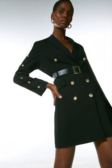 Black  Compact Stretch Viscose Military Tux Dress