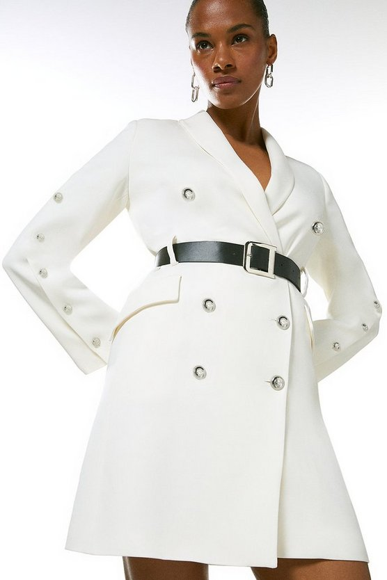 Ivory  Compact Stretch Viscose Military Tux Dress