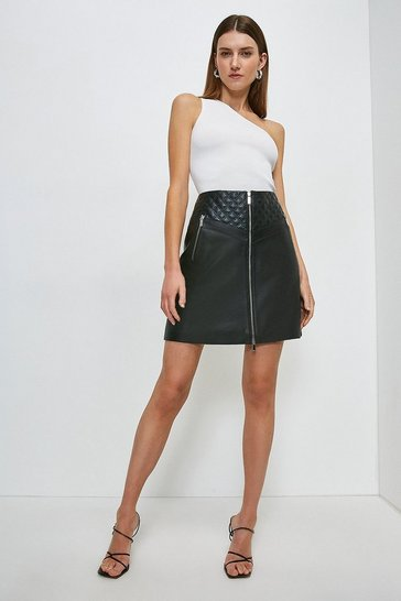 Black Leather Quilted Patch Zip Through Skirt
