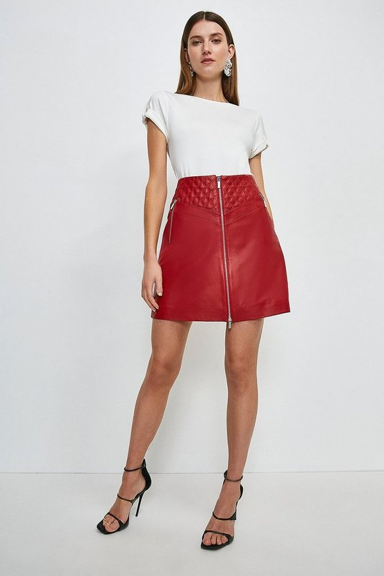 Red Leather Quilted Patch Zip Through Skirt