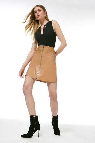 Tan Leather Quilted Patch Zip Through Skirt
