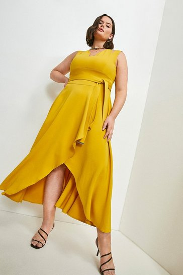 Mustard Curve Compact Stretch Viscose Waterfall Dress
