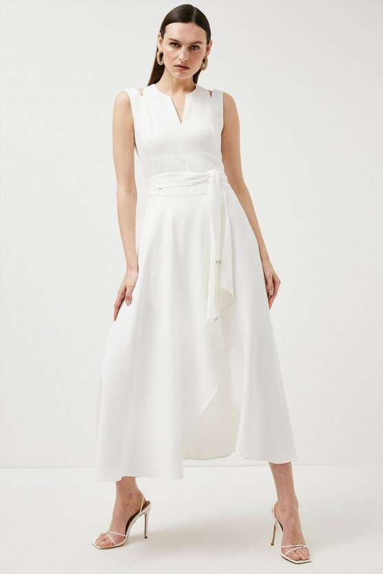 Ivory  Compact Stretch Viscose Waterfall Dress