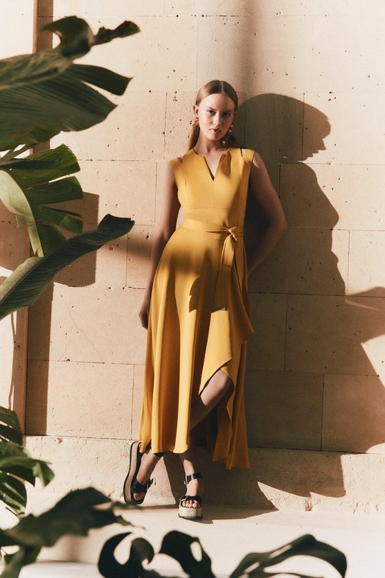 Mustard  Compact Stretch Viscose Waterfall Dress