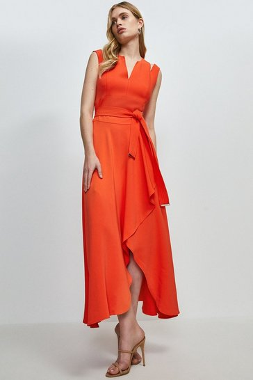 Orange  Compact Stretch Viscose Waterfall Dress