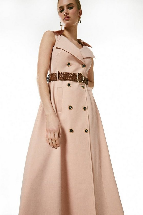 Blush  Polished Stretch Wool Blend Full Midi Dress