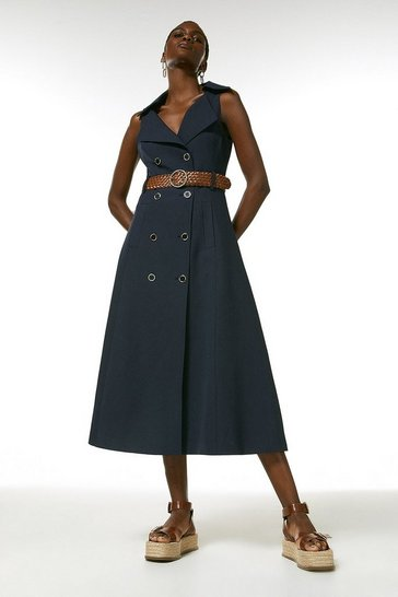 Navy  Polished Stretch Wool Blend Full Midi Dress