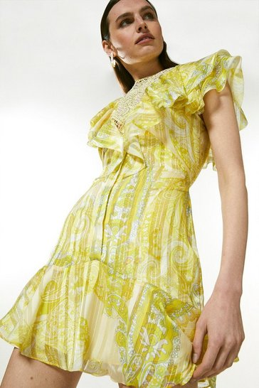 Yellow Cutwork Applique Paisley Ruffle Dress