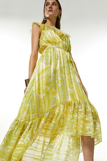 Yellow Cutwork Applique Paisley Drama Maxi Dress
