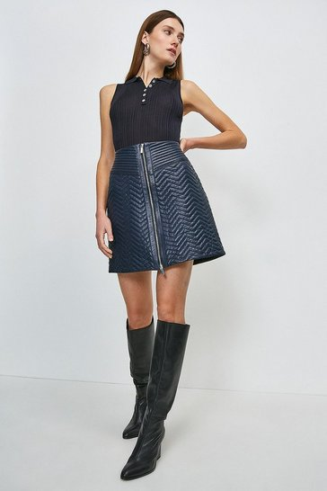 Navy Leather Quilted Zip Skirt