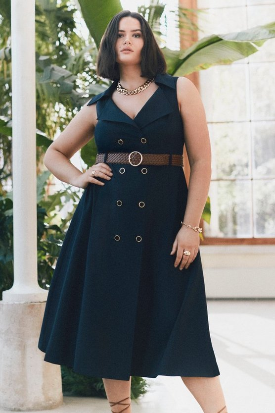 Navy Curve Polished Stretch Wool Blend Full Skirt Dress