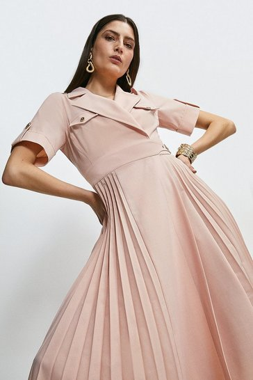 Blush Polished Stretch Wool Blend Pleated Panel Dress