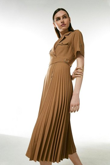 Camel Polished Stretch Wool Blend Pleated Panel Dress