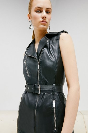 Black Leather Sleeveless Biker Dress