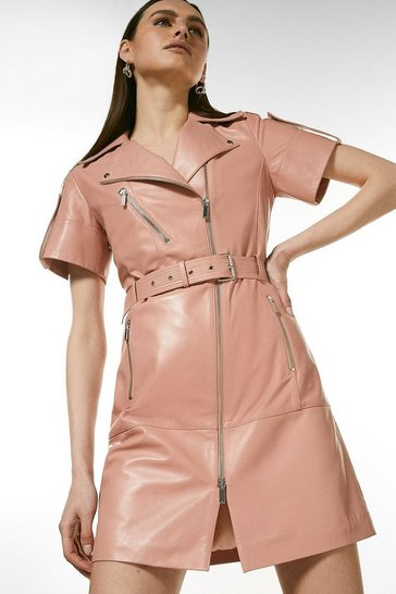 Blush Leather Short Sleeve Biker Dress