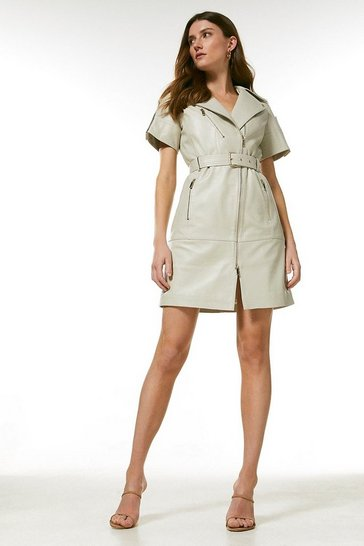 Cream Leather Short Sleeve Biker Dress