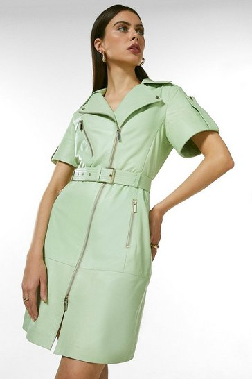 Mint Leather Short Sleeve Biker Dress