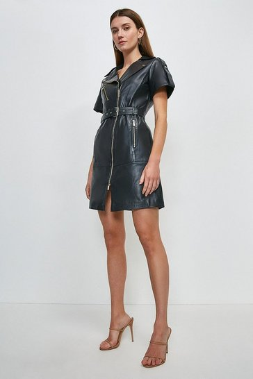 Navy Leather Short Sleeve Biker Dress