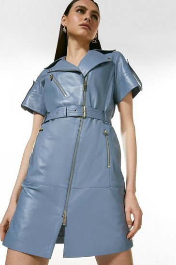 Pale blue Leather Short Sleeve Biker Dress
