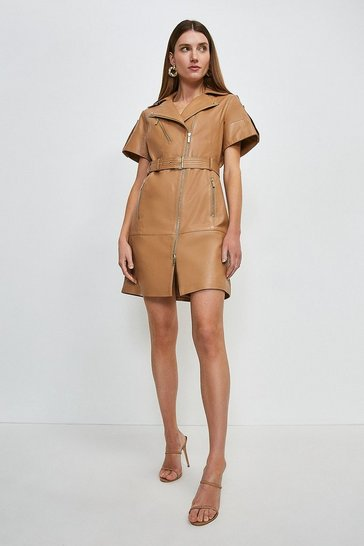 Tan Leather Short Sleeve Biker Dress