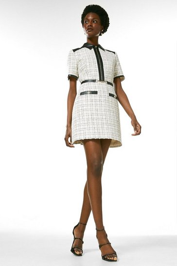 Blackwhite Boucle Pu Contrast Short Sleeve Dress