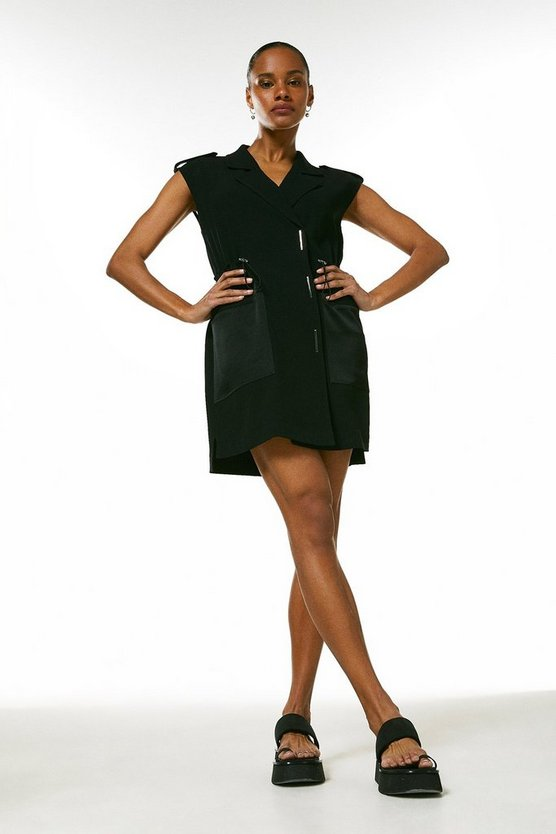 Black Luxe Satin Back Crepe Utility Dress