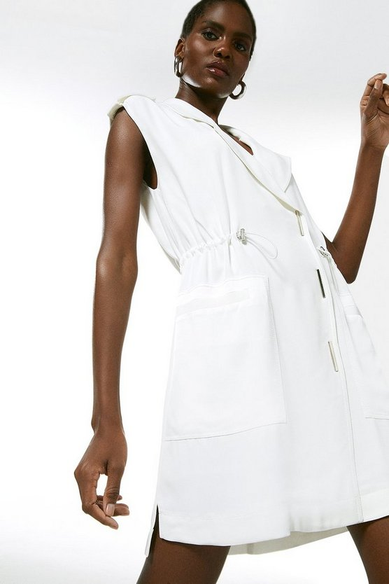 Ivory Luxe Satin Back Crepe Utility Dress