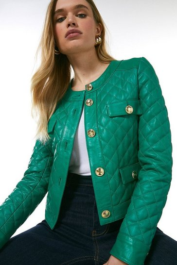Bright green Leather Quilted Trophy Jacket