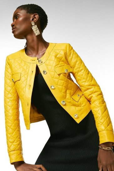 Mustard Leather Quilted Trophy Jacket