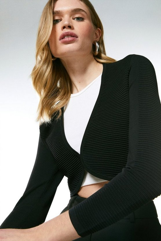 Black Textured Stitch Knit Bolero