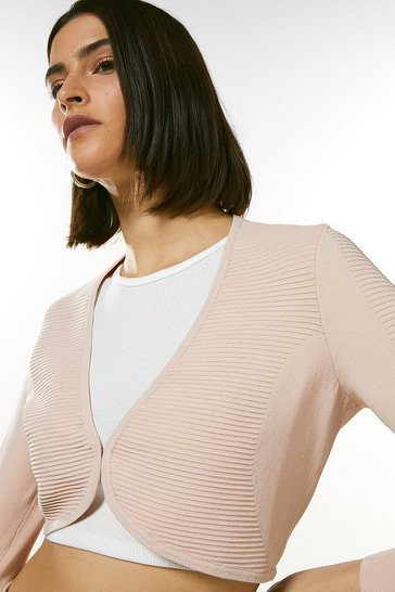 Blush Textured Stitch Knit Bolero