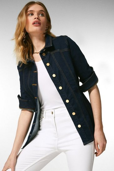 Dark indigo Corset Seam Denim Jacket
