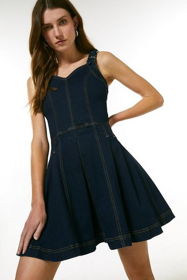 Dark indigo Denim Corset Skater Dress